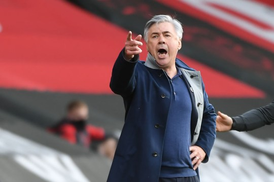 Carlo Ancelotti looks at Everton's match with Southampton