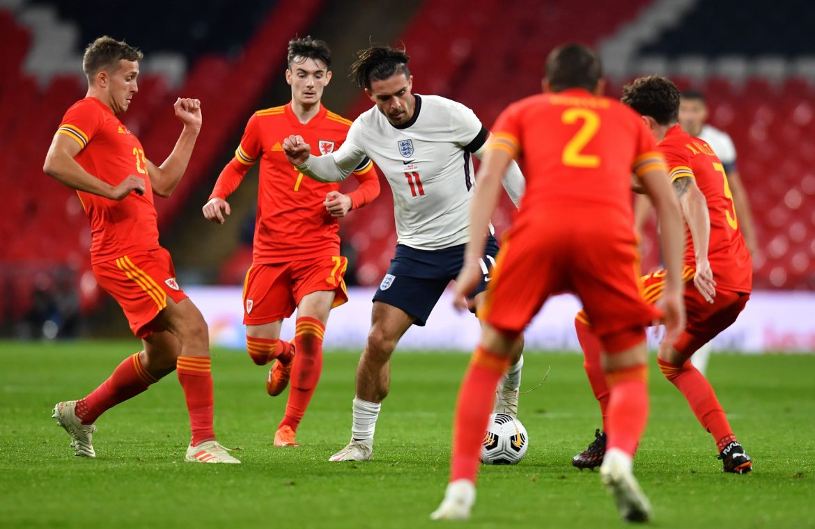 Aston Villa captain Jack Grealish in action against Wales
