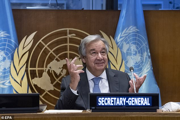United Nations Secretary-General Antonio Guterres (seen last month) said on Saturday that a divided world has failed to rise to the challenge of fighting the pandemic.