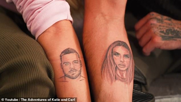 wow!  Katie Price and boyfriend Carl Woods revealed tattoos on their faces