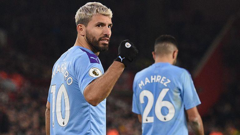 Sergio Aguero celebrates his goal against Sheffield United