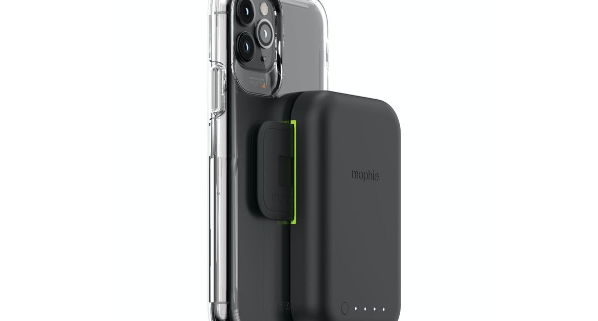 Mophie's new wireless charging battery pack is installed on the back of your phone