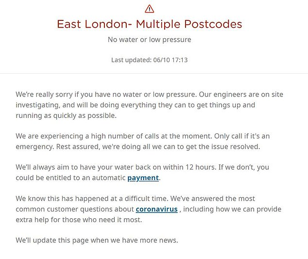 Thousands of people currently living in East London without a water supply.  Thames Water has apologized for the continued disruption of its website