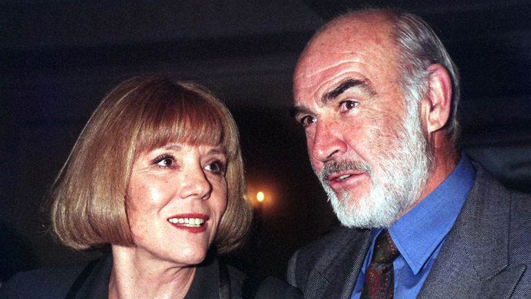 File picture dated 11/29/96 of Diana Rigg and Sean Connery while attending the 1996 Standard Evening Drama Awards at the Savoy Hotel, London. Diana Rigg, the avenger actress, has passed away at the age of 82.