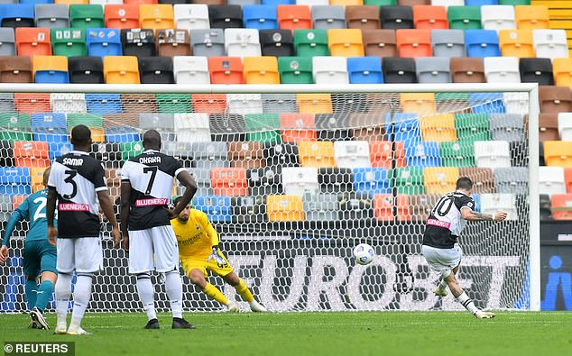 Rodrigo de Paul equalized for Udinese in the second half after Ignacio Posito fouled.