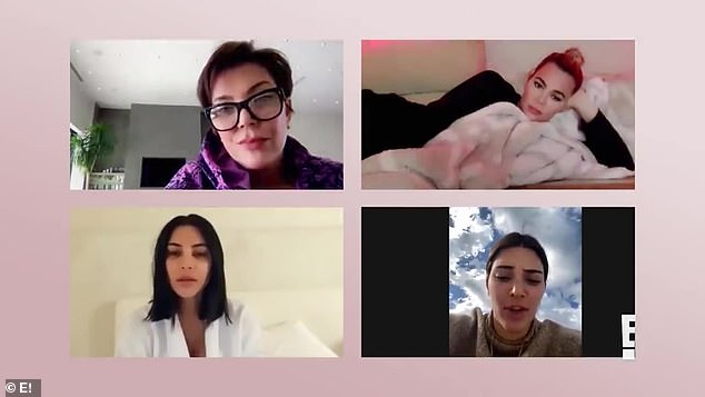 Group chat: Kendall's mother, Kris Jenner, and sisters Kim and Khloe Kardashian joined the conversation