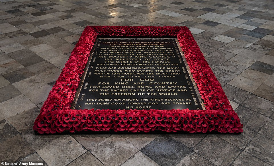Greetings: The Unknown Soldier was buried in Westminster Abbey on November 11, 1920 but lockdown restrictions mean commemorations must take place in advance.  File picture