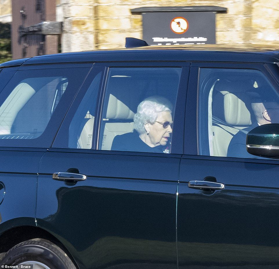 Condolence: The Queen, 94, traveled by car from Windsor Castle to London to celebrate the centenary of the burial of the unknown warrior, according to the court post.  The Queen was photographed leaving Windsor Castle yesterday (pictured) before returning two hours later, but the reason for the excursion was not announced.