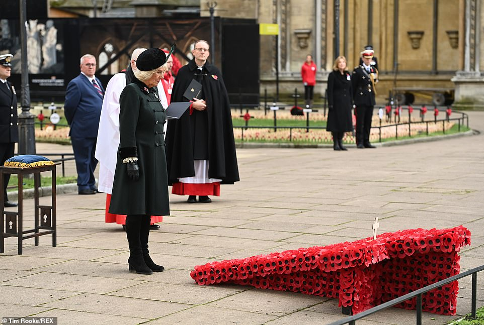 Royal ceremonies: The Duchess of Cornwall also had an engagement in Westminster Abbey yesterday, and stood in front of Prince Harry to visit Memorial Square