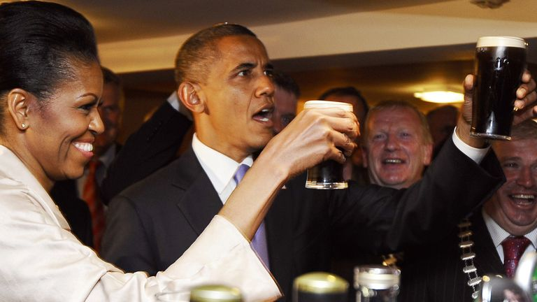 Barack and Michelle Obama sampled the Guinness Book of Records at Moneygall, where his great-grandfather came from, in 2011