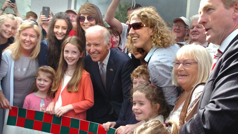 Joe Biden is pictured with his distant cousins from County Mayo in Ireland