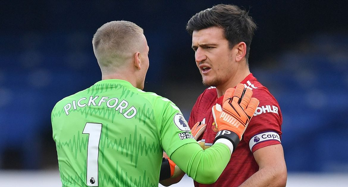 Harry Maguire responded to Jordan Pickford's final challenge during Manchester United's victory