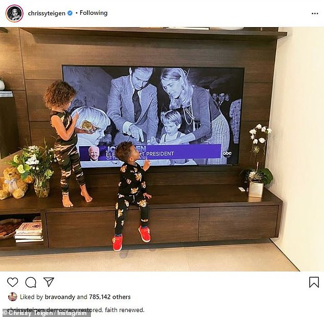 Breaking news: She shared an Instagram photo of her daughter Luna Simon, 4, and her son Miles Theodore, 2, standing in front of the TV when the results are announced.