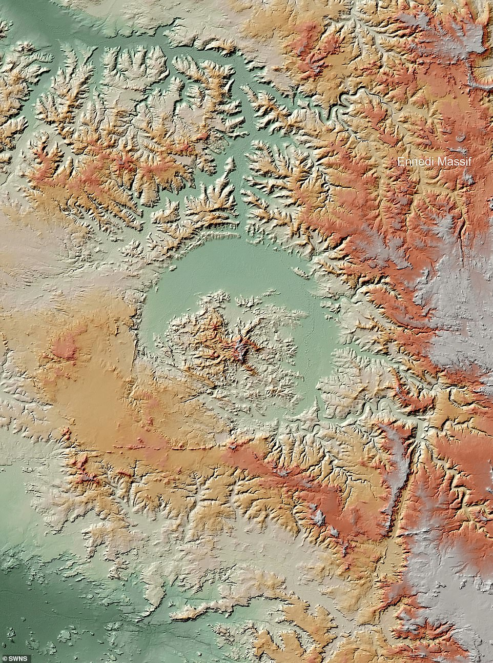 The books also introduce readers to basic principles of impact drilling, radar remote sensing, and provide details of the TanDEM-X mission and the researchers' fieldwork.  Pictured: Guindy Vada crater in Chad