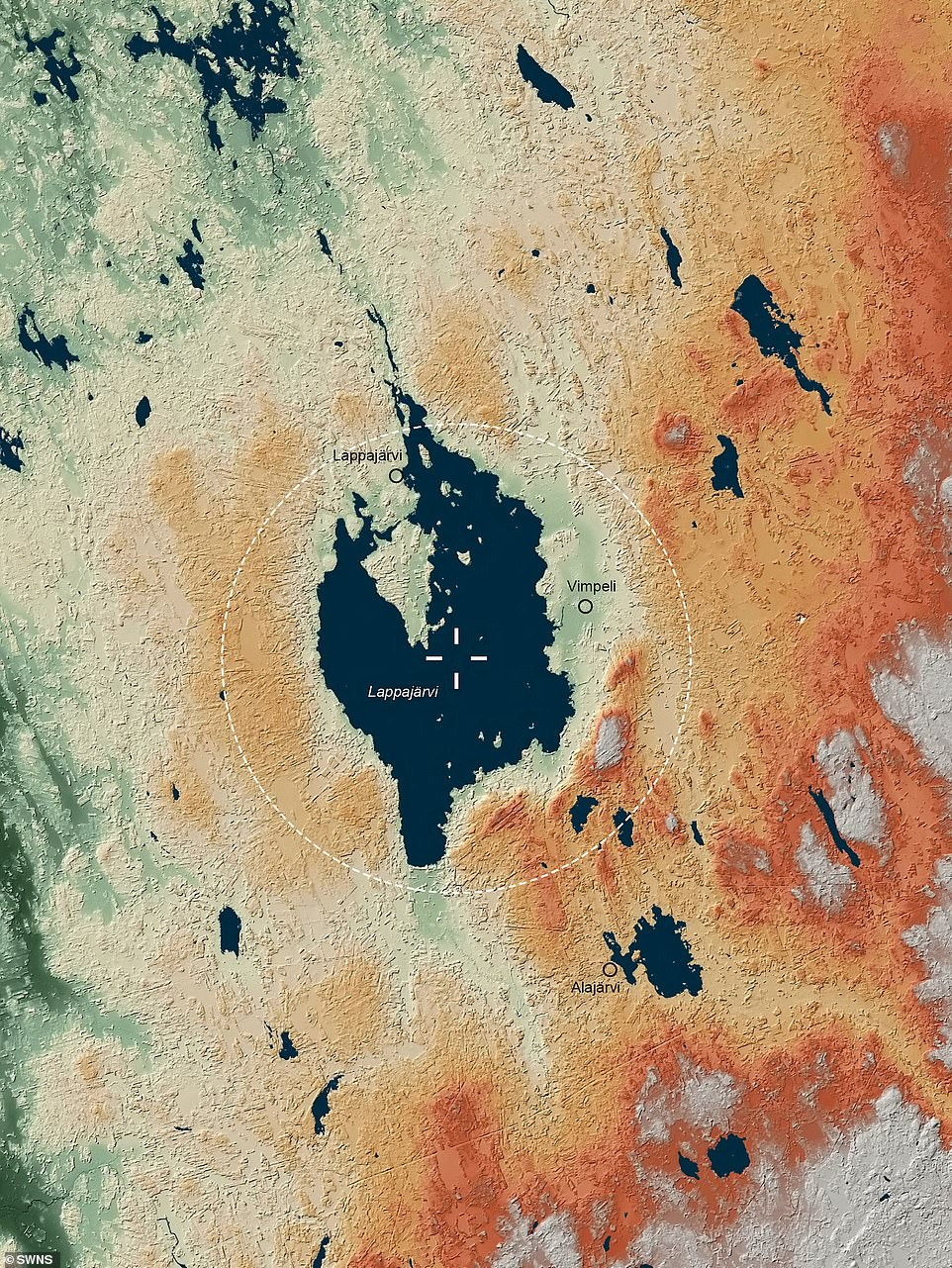 Famous craters such as the Fredfort Crater and Chicxulub Crater in the Mexican Yucatan Peninsula, which put an end to the dinosaurs, also appeared in the atlas. Pictured: Lappajarvi Crater, Finland