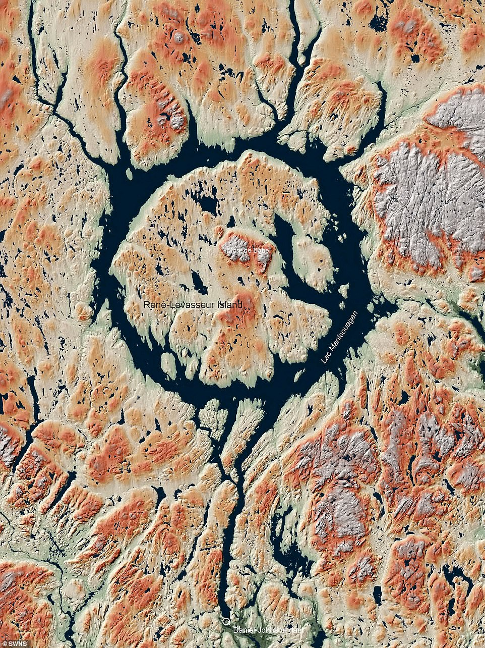 Researchers used a low-orbit radar satellite called TanDEM-X between 2010 and 2016 to measure every known crater on Earth's surface with an altitude accuracy of a meter. Pictured: Manicouagan crater in Quebec, Canada