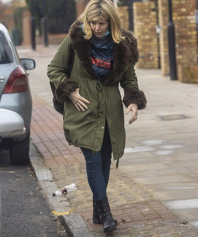 The Exit: Kate Garaway is spotted leaving her London home on Sunday heading to see her husband Derek Draper in the hospital