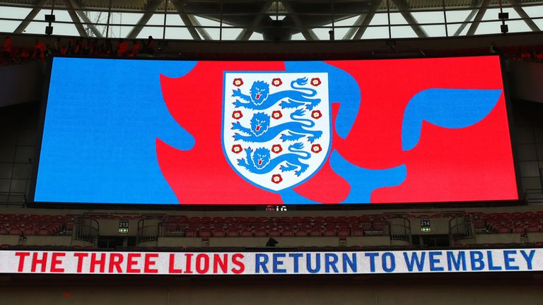 England logo on the big screen at Wembley