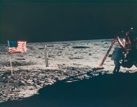 Neil Armstrong, Apollo II mission commander, in the Lunar Module Modular Equipment Storage (MESA) unit