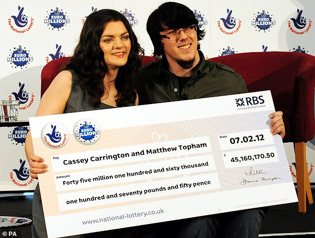 Matt Tobham (pictured with Cassey Carrington), who won £ 45m when he was 23, smashed his BMW in a Ford Fiesta, 75-year-old Mary Jane Rigler