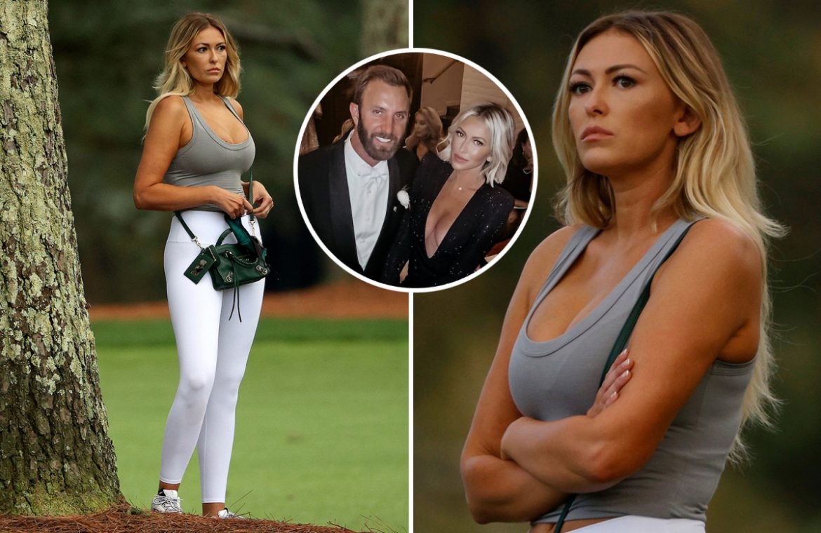 Dustin Johnson's fiancée, Paulina Gretzky, stuns at a low top while watching the golf star win the Masters in Augusta