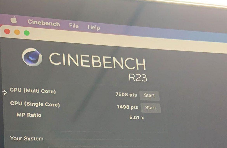 The Apple Silicon M1 MacBook Pro scored 7508 a multi-core score in the Cinebench benchmark