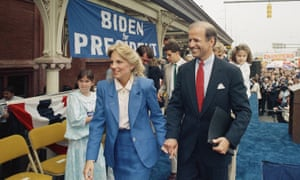 Joe Biden walks with his wife, Jill, after announcing his candidacy for the presidency on June 9, 1987, in Wilmington, Delaware.