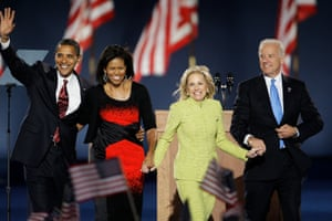 Barack Obama, Michelle Obama, Jill Biden, and Joe Biden at an election night party in Grant Park in Chicago, November 4, 2008.