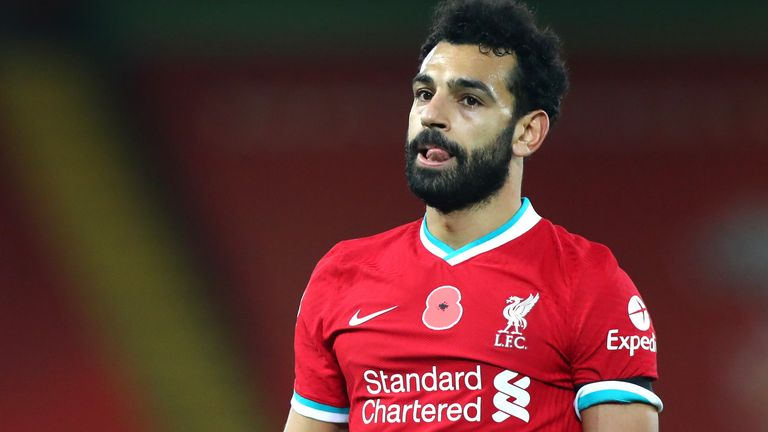 Mohamed Salah during the Premier League match between Liverpool and West Ham United