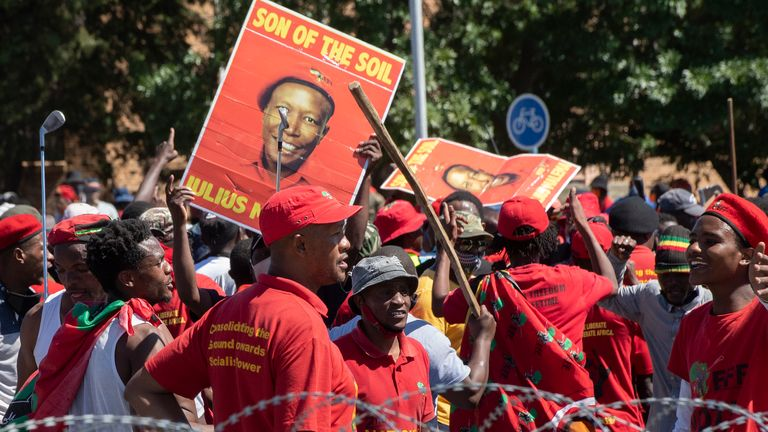 The protest was organized by the Economic Freedom Fighters (EFF).