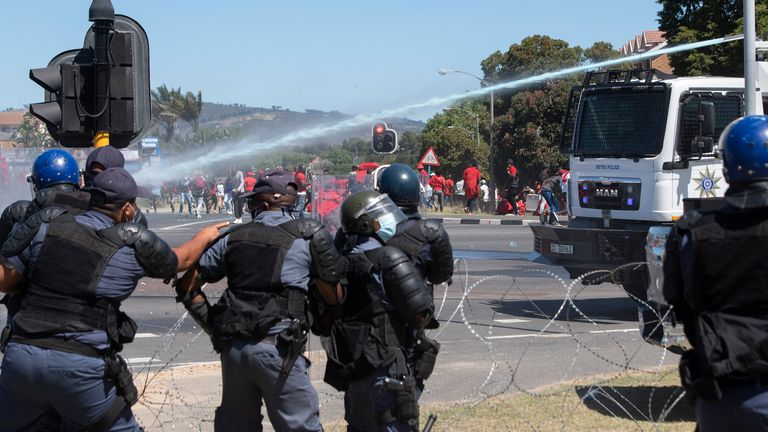 The water cannon was deployed by the police in Cape Town