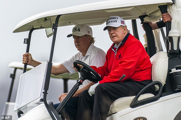 Since Biden's victory was announced two weeks ago, Trump (pictured at the Virginia golf course on Saturday) has unleashed a barrage of lawsuits and launched a lobbying campaign to prevent states from certifying their vote totals.