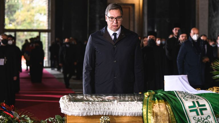 Serbian President Aleksandar Vucic expresses his last respects