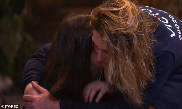 Support: The journalist embraced Giovanna in the evening after admitting that it was difficult to talk about her sons