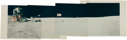 Panoramic view [Mosaic] From Descartes' landing site with LM Orion, John Young, Rover, the United States Flag and the Solar Wind Collector, 16-27 April 1972