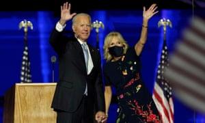 Joe and Jill Biden in Wilmington, Delaware, on November 7, 2020.