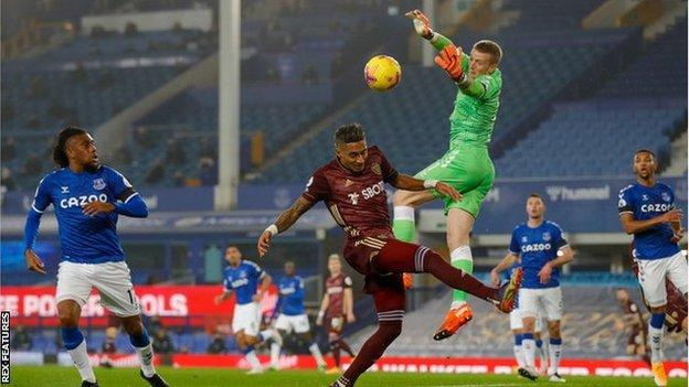 Everton goalkeeper Jordan Pickford in the match after his side's 1-0 defeat to Leeds United