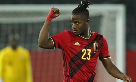 Michy Batshuayi celebrates scoring Belgium's goal against Switzerland.
