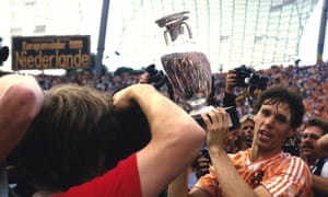 Marco Van Basten lifted the European Championship trophy in 1988 after scoring the second goal for the Netherlands against the Soviet Union in Munich