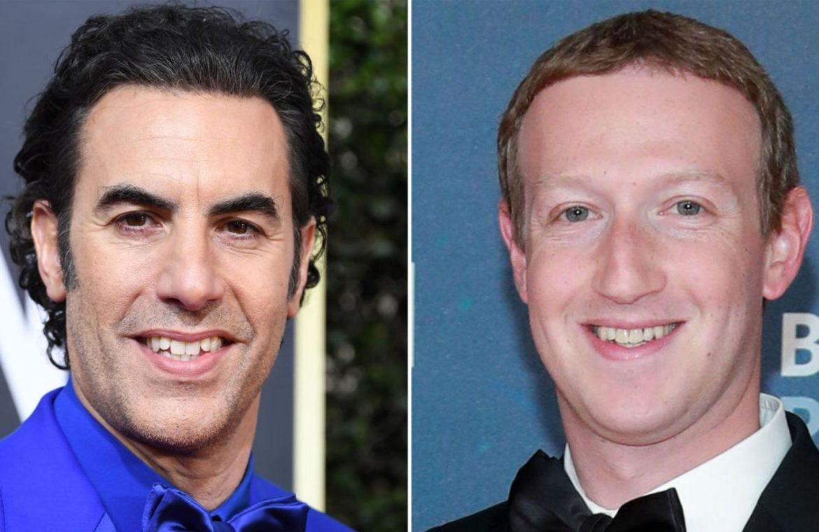 Sacha Baron Cohen, left, has targeted Mark Zuckerberg, right, in a tweet