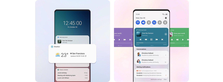 Samsung One UI 3.0 Notifications Quick Settings Lock Screen Widgets