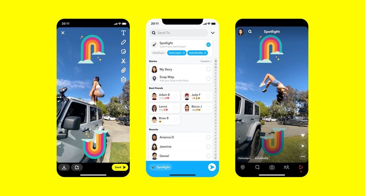 Snapchat has officially launched an in-app TikTok competitor called Spotlight