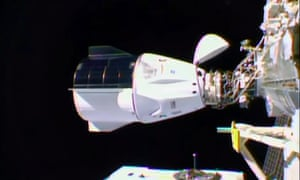 The SpaceX Crew Dragon docked at the International Space Station