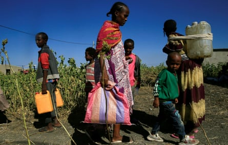 Ethiopian refugees flee the fighting in the Tigray region.