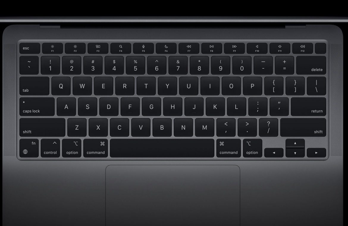 The new MacBook Air keyboard features dedicated keys for Dictation, Spotlight, Do Not Disturb and Emoji