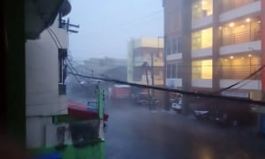 Heavy rains caused by Typhoon Goni in Sorsogon, Philippines, on Sunday.