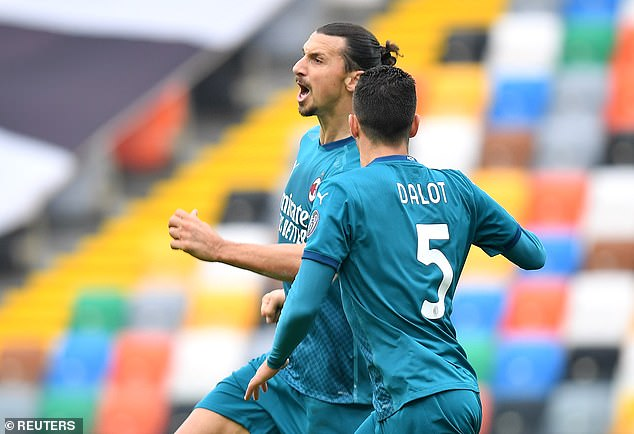 Zlatan Ibrahimovic celebrates his goal that put his team four points ahead of the Serie A top spot
