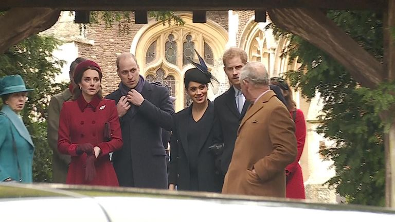 The royal family leaves after attending a Christmas Mass at St Mary Magdalene Church on the Sandringham Estate.