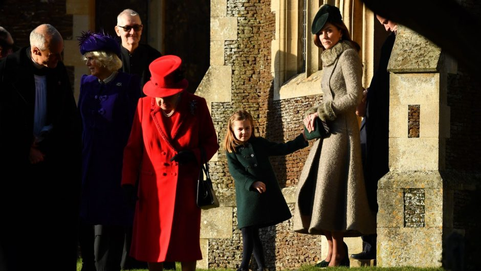 (L-R) Britain's Queen Elizabeth II, Britain's Princess Charlotte of Cambridge and Britain's Catherine, Duchess of Cambridge leave after the Royal Family's traditional Christmas Day service at St Mary Magdalene Church in Sandringham, Norfolk, eastern England, on December 25, 2019. (Photo by Ben STANSALL / AFP) (Photo by BEN STANSALL/AFP via Getty Images)
