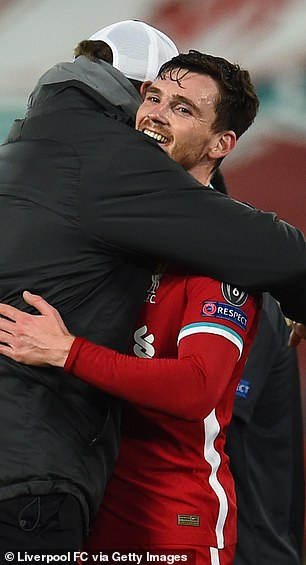 Andy Robertson received a big hug from Klopp at the final whistle